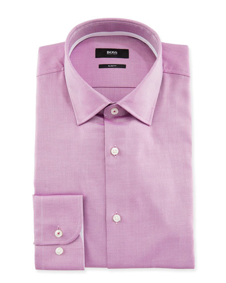 BOSS Men's Slim Fit Textured Cotton Dress Shirt