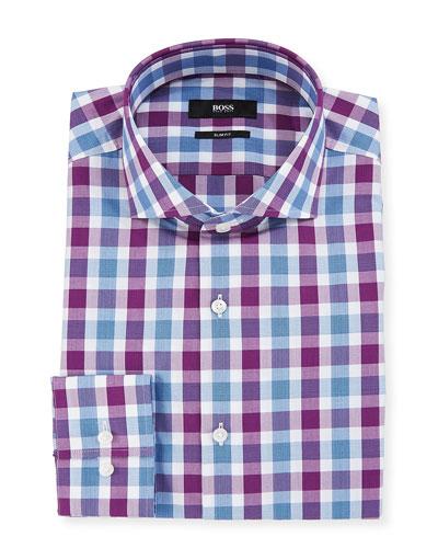 Men's Slim Fit Tattersall Cotton Dress Shirt