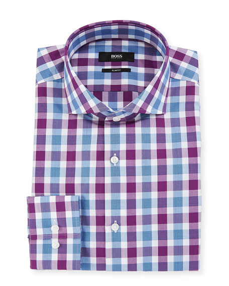 BOSS Men's Slim Fit Tattersall Cotton Dress Shirt