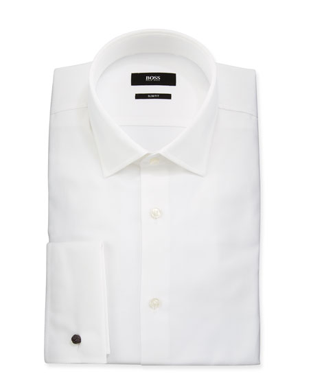 BOSS Men's Slim Fit French-Cuff Textured Dress Shirt