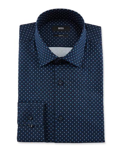 Men's Slim Fit Dot-Print Cotton Dress Shirt