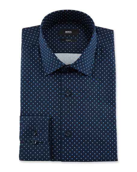Men's Slim Fit Dot-Print Cotton Dress Shirt