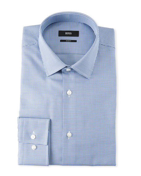 BOSS Men's Slim Fit Textured Cotton Dress Shirt