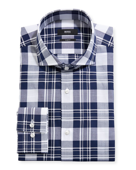 Men's Slim Fit Large-Plaid Dress Shirt