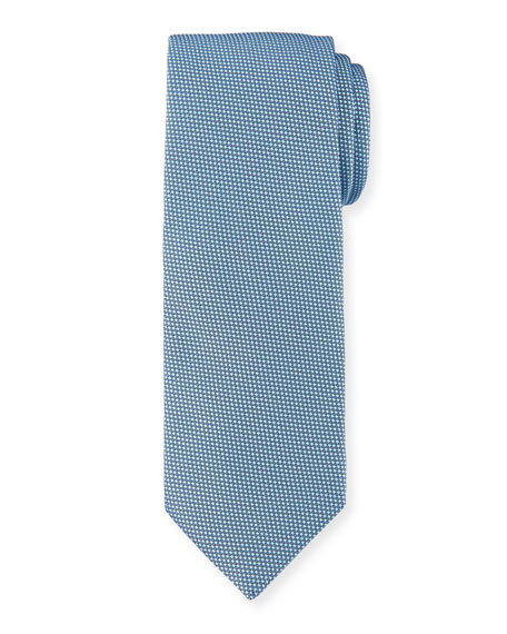 Solid Dot-Textured Silk Tie