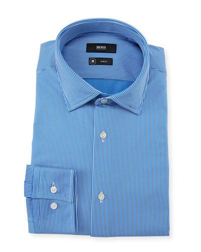 Men's Slim Fit Striped Performance Dress Shirt