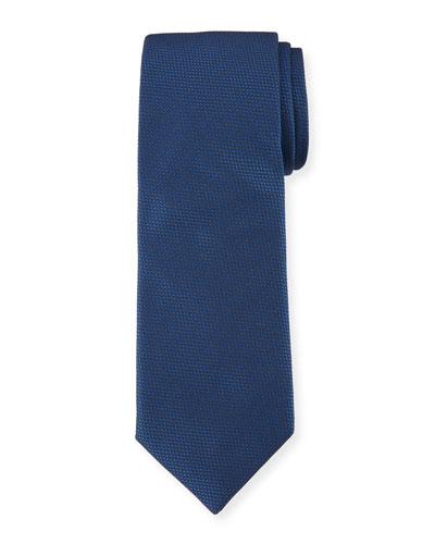 Solid Dot-Textured Silk Tie, Navy