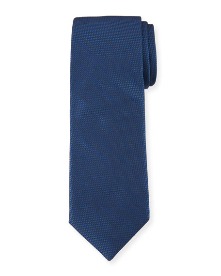 BOSS Solid Dot-Textured Silk Tie, Navy