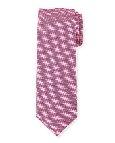 Solid Dot-Textured Silk Tie, Dark Pink