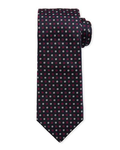 Neat Mini Flower Silk Tie, Dark Pink