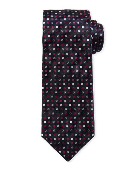 BOSS Neat Mini Flower Silk Tie, Dark Pink