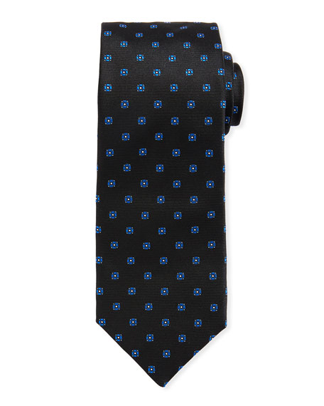 BOSS Neat Mini Flower Silk Tie, Teal