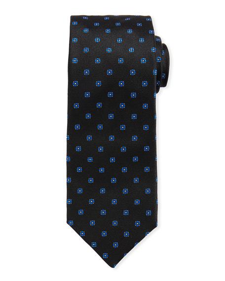 Neat Mini Flower Silk Tie, Teal