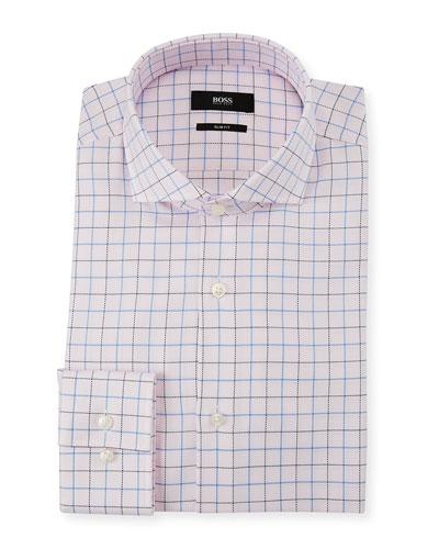 Men's Slim Fit Box Cotton Dress Shirt