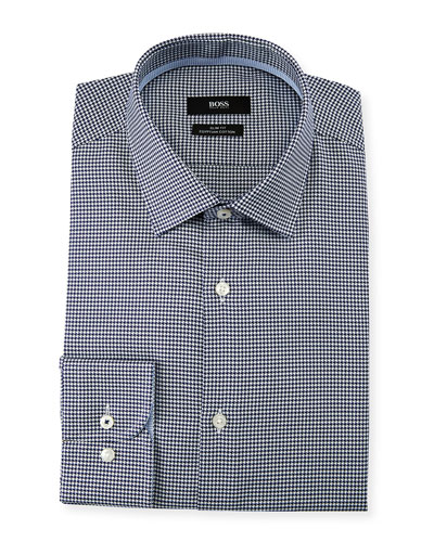 Men's Slim Fit Small-Check Egyptian Cotton Dress Shirt