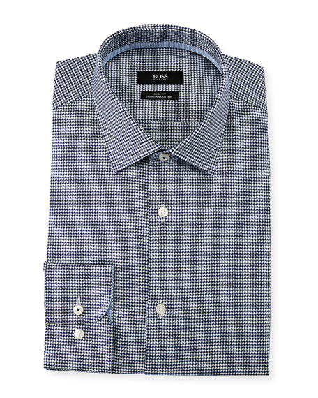 BOSS Men's Slim Fit Small-Check Egyptian Cotton Dress