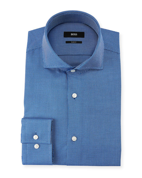BOSS Men's Slim Fit Small Dots Dress Shirt