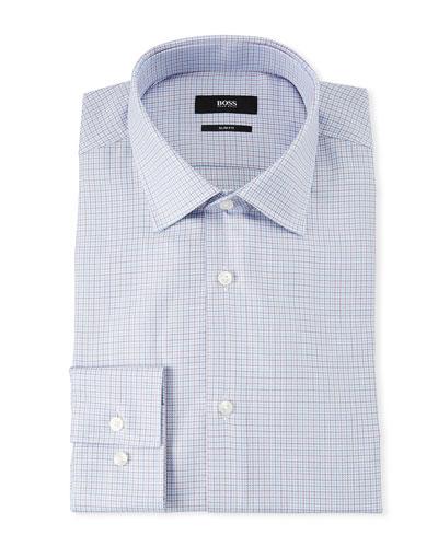 Men's Slim Fit Multi-Square Dress Shirt