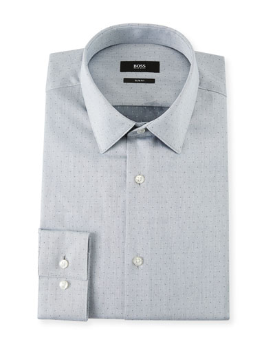 Men's Slim Fit Dotted Cotton Twill Dress Shirt
