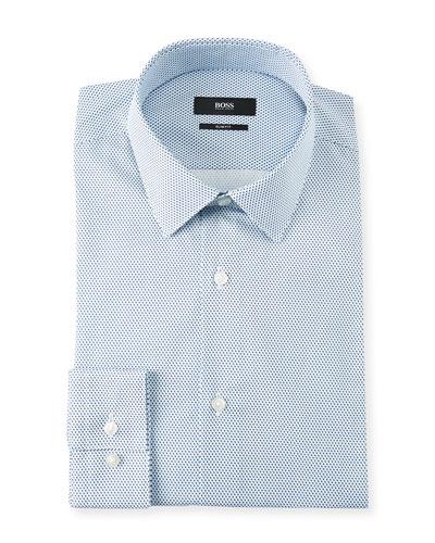 Men's Slim Fit Pindot Cotton Dress Shirt