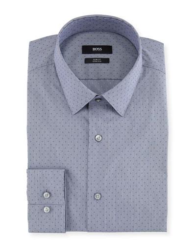 Men's Slim Fit Stretch Dot Cotton-Blend Dress Shirt