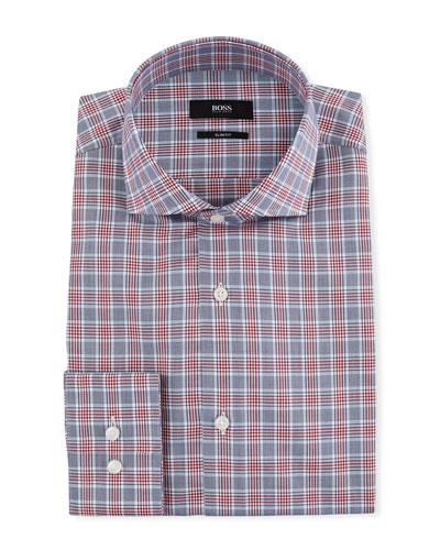 Men's Slim Fit Over-Check Cotton Dress Shirt
