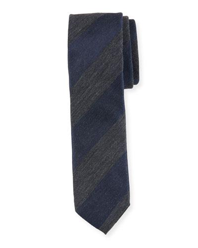 Heathered Stripe Cotton-Blend Tie