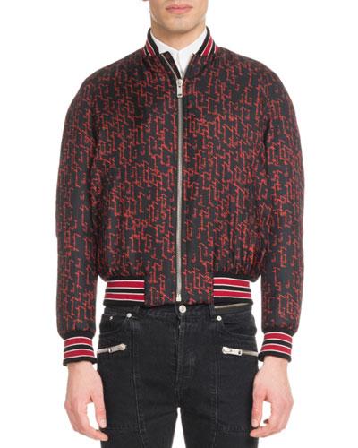 Men's Signature Print Silk Bomber Jacket