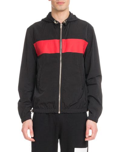 Men's Logo Crinkle-Weave Wind-Resistant Jacket