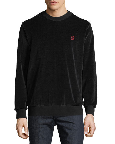 Givenchy Men's Velvet Crewneck Sweatshirt