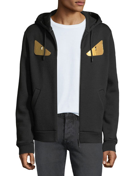 Fendi Men's Gold Bugs Zip-Front Hoodie Sweatshirt