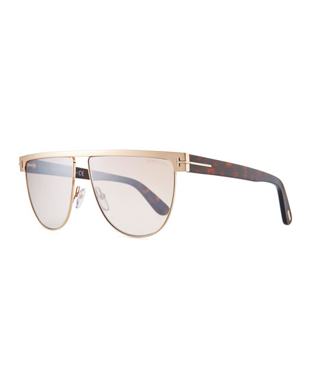 TOM FORD Men's Stephanie Flat-Top Metal Sunglasses, Rose