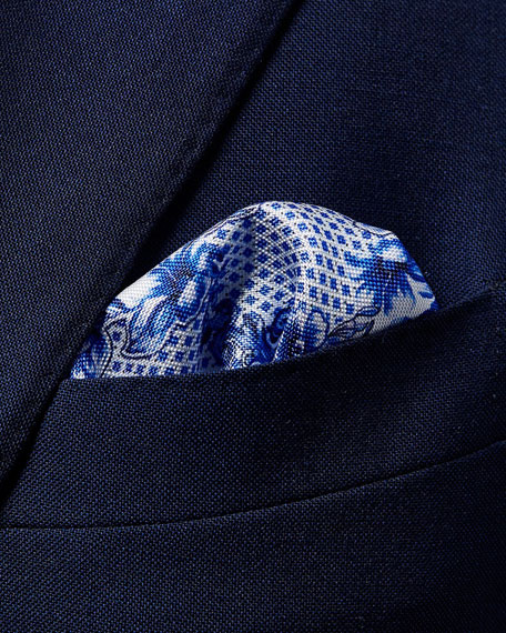 Lisbon-Print Silk Pocket Square