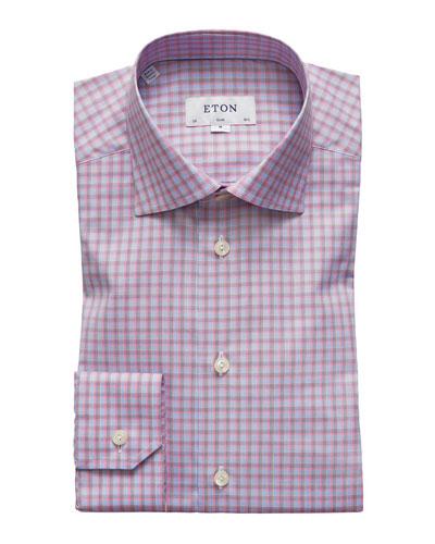 Men's Slim-Fit Tattersall Cotton Dress Shirt