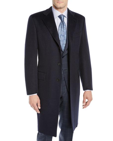 BRIONI Men'S Single-Breasted Cashmere Top Coat in Blue