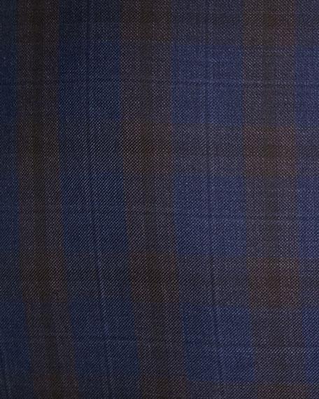 Men's Two-Tone Plaid Two-Button Jacket, Blue