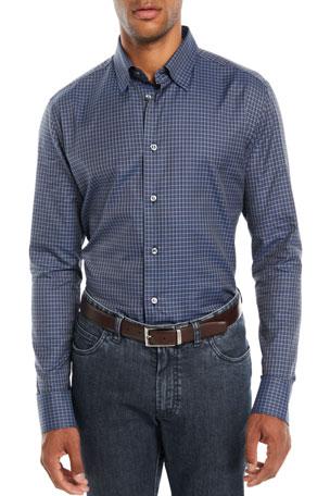 Brioni Men's Check Cotton Sport Shirt, Blue
