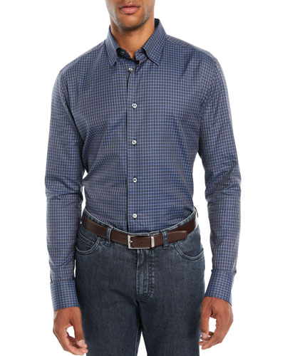 Men's Check Cotton Sport Shirt, Blue