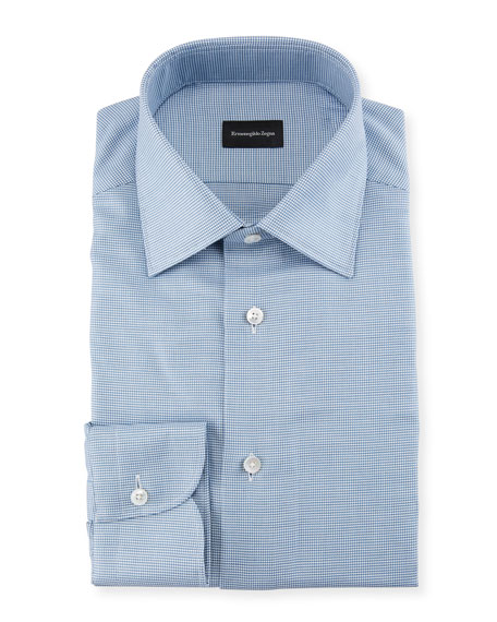 Ermenegildo Zegna Men's Micro-Check Dress Shirt