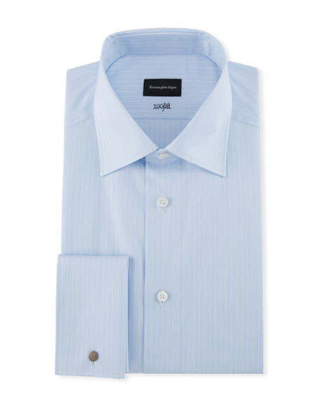 Ermenegildo Zegna Men's 100Fili Tonal Striped Dress Shirt