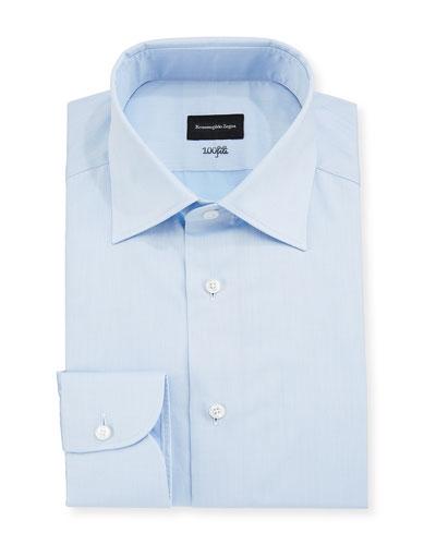 Men's 100Fili Cento Solid Poplin Dress Shirt, Blue