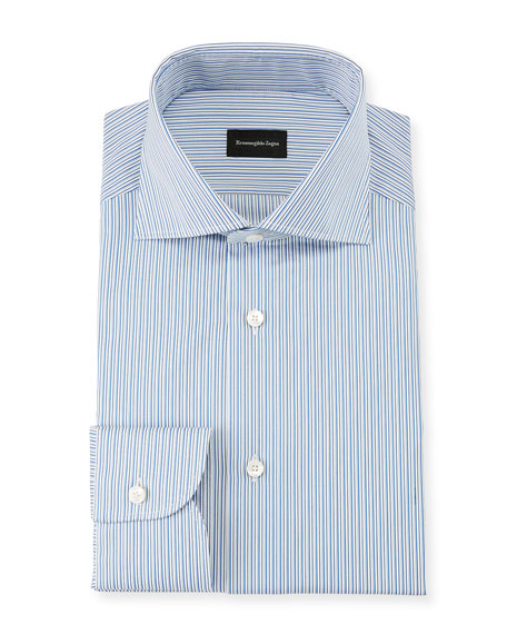 Ermenegildo Zegna Men's Multi-Stripe Cotton Dress Shirt, Royal