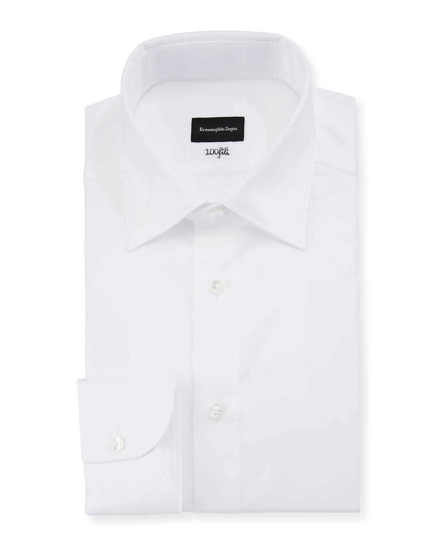Ermenegildo Zegna Mens 100fili Cento Solid Poplin Dress Shirt