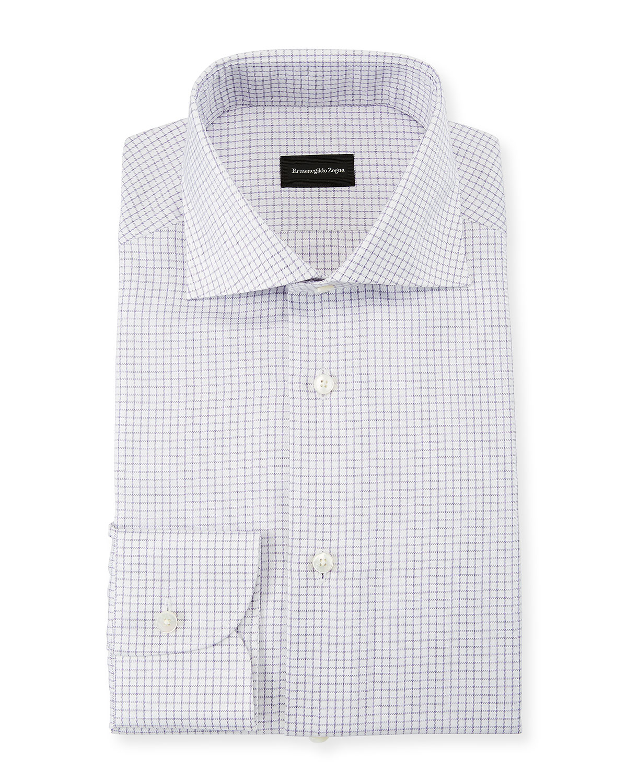Ermenegildo Zegna Mens Graph Check Dress Shirt Purple Neiman Marcus