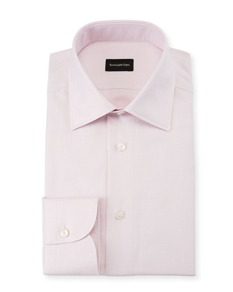 Ermenegildo Zegna Men's Micro-Tic Cotton Dress Shirt
