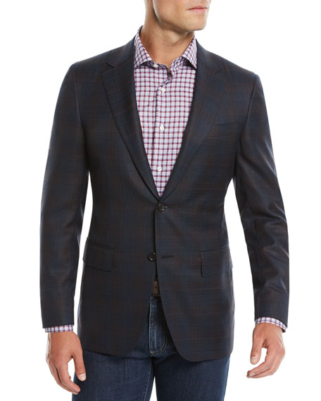 Men's 120s Wool Textured Plaid Two-Button Sport Coat Jacket
