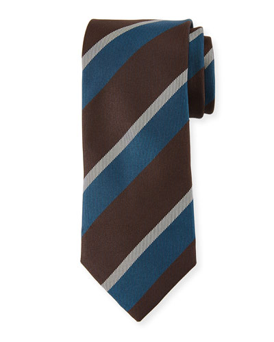 Large Diagonal Stripe Silk Tie, Brown