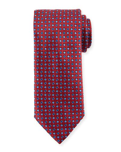 Lattice Box Silk Tie, Red