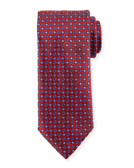 Canali Lattice Box Silk Tie, Red