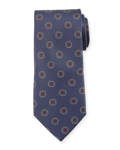 Tossed Pines Silk Tie, Gray